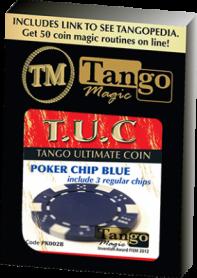 TUC Poker Chip Blue plus 3 regular chips (PK002B) by Tango Magic - Trick
