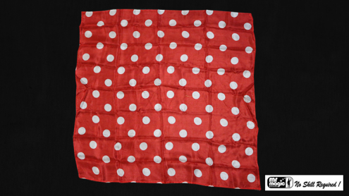 Polka Dot Hanky, White on Red (21 inches x 21 inches) by Mr. Magic