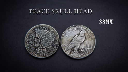 PEACE SKULL HEAD COIN by Men Zi  Magic